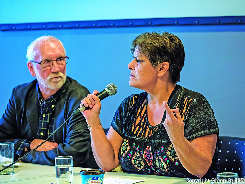 Dr. Jim Brophy listens to Ada Lockery during a panel discussion following a toxic tour of the Chemical Valley with the Aamjiwnaang was followed by a panel discussion, held at the community centre.