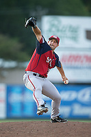 Hagerstown Suns relief pitcher Robert Orlan (26) in action against the Kannapolis Intimidators at Intimidators Stadium on July 18, 2015 in Kannapolis, North Carolina.  The Intimidators defeated the Suns 1-0.  (Brian Westerholt/Four Seam Images)