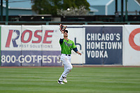 Kane County Cougars center fielder Alek Thomas (2) during a Midwest League game against the Cedar Rapids Kernels at Northwestern Medicine Field on April 28, 2019 in Geneva, Illinois. Cedar Rapids defeated Kane County 3-2 in game two of a doubleheader. (Zachary Lucy/Four Seam Images)