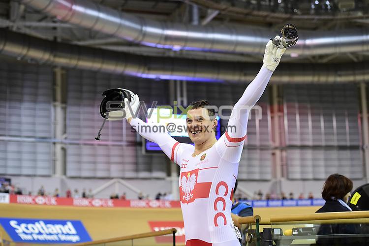 Picture by Alex Broadway/SWpix.com - 04/11/2016 - Cycling - 2016 UCI Track Cycling World Cup, Day 1 - Sir Chris Hoy Velodrome, Glasgow, United Kingdom - Men's Sprint Finals GOLD - Kamil Kuczynski of Poland celebrates victory.
