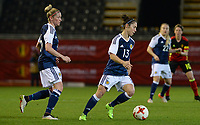 20170411 - LEUVEN ,  BELGIUM : Scottish Jane Ross (right) pictured with Scottish Leanne Ross (left)  during the friendly female soccer game between the Belgian Red Flames and Scotland , a friendly game in the preparation for the European Championship in The Netherlands 2017  , Tuesday 11 th April 2017 at Stadion Den Dreef  in Leuven , Belgium. PHOTO SPORTPIX.BE | DAVID CATRY