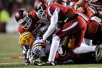 NWA Media/ J.T. Wampler -  LSU's Tre'Davious White gets buried by the Arkansas' defense during the fourth quarter Saturday Nov. 15, 2014 at Donald W. Reynolds Razorback Stadium. Arkansas won 17-0.