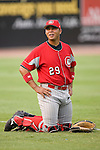 Chattanooga Lookouts catcher Miguel Perez gets loose prior to taking on the Birmingham Barons at Hoover Metropolitan Stadium in Birmingham, AL, Sunday, August 20, 2006.