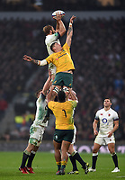 Chris Robshaw of England wins the ball at a lineout. Old Mutual Wealth Series International match between England and Australia on November 18, 2017 at Twickenham Stadium in London, England. Photo by: Patrick Khachfe / Onside Images
