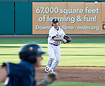 Reno Aces shortstop Jake Elmore makes the throw to frist for the out agianst the Colorado Sky Sox during their game on Tuesday night July 24, 2012 at Aces Ballpark in Reno NV.