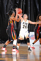 25 November 2011:  FIU guard Carmen Miloglav (24) defends Maryland guard-forward Alyssa Thomas (25) in the second half as the University of Maryland Terrapins defeated the FIU Golden Panthers, 84-52, at the U.S. Century Bank Arena in Miami, Florida.