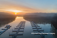 63895-16816 Boat Docks at sunrise in fog Stephen A. Forbes State Park-aerial-Marion Co. IL