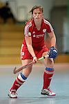 GER - Mannheim, Germany, December 19: During the 1. Bundesliga Sued Damen indoor hockey match between Mannheimer HC (blue) and Nuernberger HTC (red) on December 19, 2015 at Irma-Roechling-Halle in Mannheim, Germany. Final score 8-2 (HT 3-2). (Photo by Dirk Markgraf / www.265-images.com) *** Local caption ***Jana Borgmann #28 of Nuernberger HTC