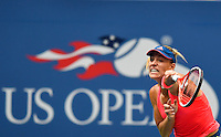NEW YORK, USA - SEPT 10, Angelique Kerber of Germany serves to Karolina Pliskova of Czech Republic during their Women's Singles Final Match of the 2016 US Open at the USTA Billie Jean King National Tennis Center on September 10, 2016 in New York.  photo by VIEWpress