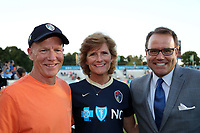 Cary, North Carolina  - Saturday September 09, 2017: Robert Mewis and Melissa Mewis, parents of Houston's Kristie and Carolina's Samantha, pose with Carolina broadcaster Dean Linke prior to a regular season National Women's Soccer League (NWSL) match between the North Carolina Courage and the Houston Dash at Sahlen's Stadium at WakeMed Soccer Park. The Courage won the game 1-0.
