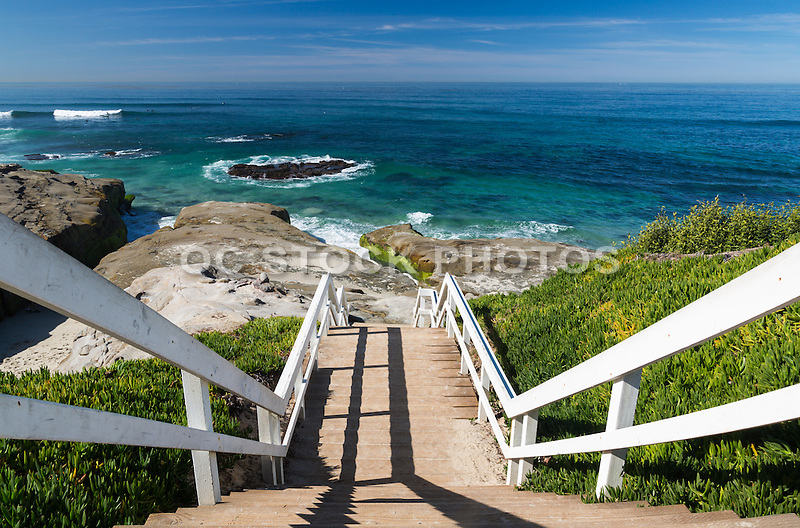 Stairs at La Jolla Beach in San Diego County California