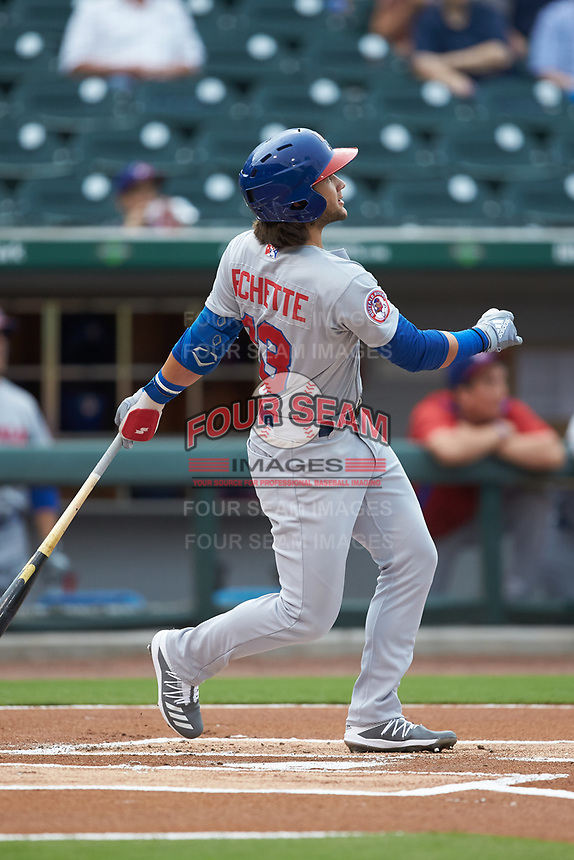 Bo Bichette (13) of the Buffalo Bisons follows through on a lead-off home run in the top of the first inning against the Caballeros de Charlotte at BB&T BallPark on July 23, 2019 in Charlotte, North Carolina. The Bisons defeated the Caballeros 8-1. (Brian Westerholt/Four Seam Images)