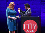 Kelda Roys and Adam Gwon on stage during the 9th Annual LILLY Awards at the Minetta Lane Theatre on May 21,2018 in New York City.
