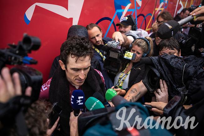 Geraint Thomas (GBR/Ineos)  post race interview<br /> <br /> Stage 15: Limoux to Foix Prat d'Albis (185km)<br /> 106th Tour de France 2019 (2.UWT)<br /> <br /> ©kramon