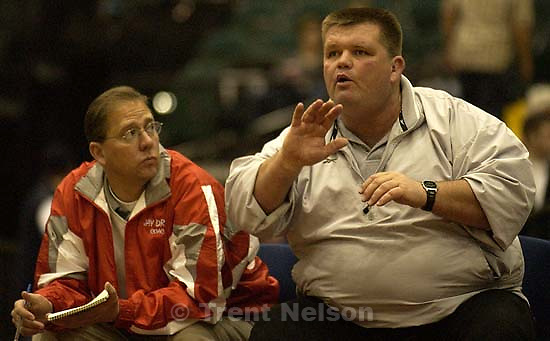 Tribune sports writer Jay Drew as guest coach at the Utah High School All-Star Wrestling Classic Tuesday night at Utah Valley State College in Orem.. 01.08.2002, 8:42:11 PM<br />