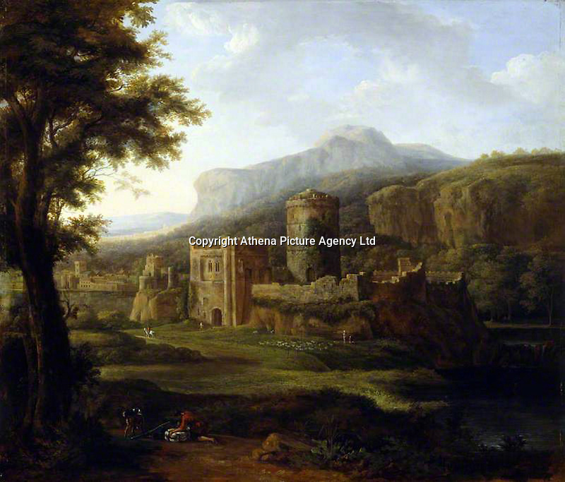 Pictured: Pembroke Castle painting, attributed to Hendrik Frans de Cort, circa 1800. STOCK PICTURE<br /> Re: Researchers believe they might have uncovered the location of Henry VII's birthplace at Pembroke Castle.<br /> Aerial photographs from 2013 gave glimpses of what lay beneath the surface, with parch marks revealing possible buildings.<br /> A geophysical survey has now confirmed the outline of a late-medieval building in the outer ward, where the king could have been born.<br /> Neil Ludlow, consultant archaeologist, said it shone new light on the castle.<br /> Much of the interior of the castle, which dates from the 11th Century, was destroyed after the Middle Ages.