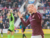 17th March 2018, Tynecastle Park, Edinburgh, Scotland; Scottish Premier League football, Heart of Midlothian versus Partick Thistle;  Steven Naismith of Hearts celebrates his sides second goal