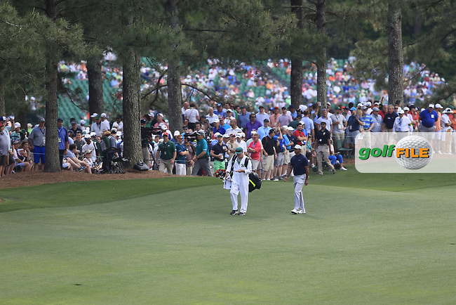 Tiger Woods (USA) on the 17th fairway during the 1st round at the The Masters , Augusta National, Augusta, Georgia, USA. 11/04/2019.<br /> Picture Fran Caffrey / Golffile.ie<br /> <br /> All photo usage must carry mandatory copyright credit (© Golffile | Fran Caffrey)