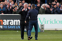 Dover Athletic Chairman, Jim Parmenter and Dover Manager, Andy Hessenthaler celebrate on the pitch at the final whistle during Dover Athletic vs Southend United, Emirates FA Cup Football at the Crabble Athletic Ground on 10th November 2019