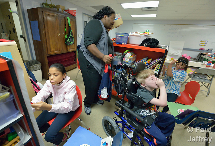 Kristen Dacres works with students with developmental disabilities in the school at Lover's Lane United Methodist Church in Dallas, Texas. Dacres is assistant director of the school.