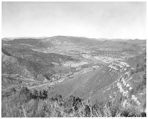 Wide-angle view of Durango and Perrins Peak from west.<br /> RGS  Durango, CO  Taken by Payne, Andy M. - 4/16/1972