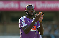 Hiram Boateng of Plymouth Argyle applauds the supporters during the Sky Bet League 2 match between Wycombe Wanderers and Plymouth Argyle at Adams Park, High Wycombe, England on 12 September 2015. Photo by Andy Rowland.