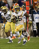 The eighth ranked Clemson Tigers defeat the Georgia Tech Yellow Jackets at Death Valley 55-31 in an ACC matchup.  Georgia Tech Yellow Jackets running back Robert Godhigh (25)