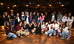"""Lauren Boyd with Student performers during the eduHAM Q & A before The Rockefeller Foundation and The Gilder Lehrman Institute of American History sponsored High School student #EduHam matinee performance of """"Hamilton"""" at the Richard Rodgers Theatre on October 30, 2019 in New York City."""