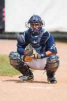 Catcher Gerardo Olivares #28 of the Princeton Rays in the bullpen at Hunnicutt Field July 4, 2010, in Princeton, West Virginia.  Photo by Brian Westerholt / Four Seam Images