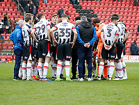 Grimsby Town FC debrief after the final whistle during the Sky Bet League 2 match between Leyton Orient and Grimsby Town at the Matchroom Stadium, London, England on 11 March 2017. Photo by Carlton Myrie / PRiME Media Images.