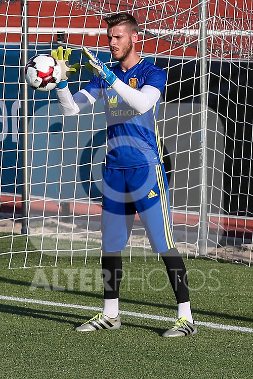 Spanish football David de Gea team durign the first training of the concentration of Spanish football team at Ciudad del Futbol de Las Rozas before the qualifying for the Russia world cup in 2017 August 29, 2016. (ALTERPHOTOS/Rodrigo Jimenez)