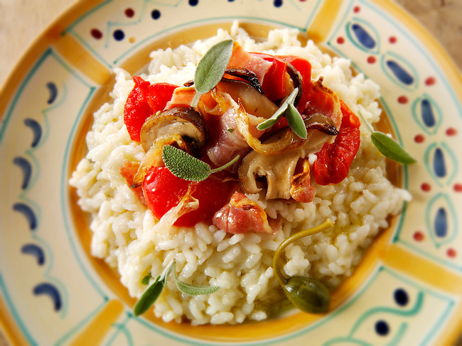 Classic risotto with pesto sauce