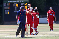 Billy Gordon of Hornchurch celebrates taking the wicket of Kishen Velani during Wanstead and Snaresbrook CC vs Hornchurch CC, Shepherd Neame Essex League Cricket at Overton Drive on 30th June 2018