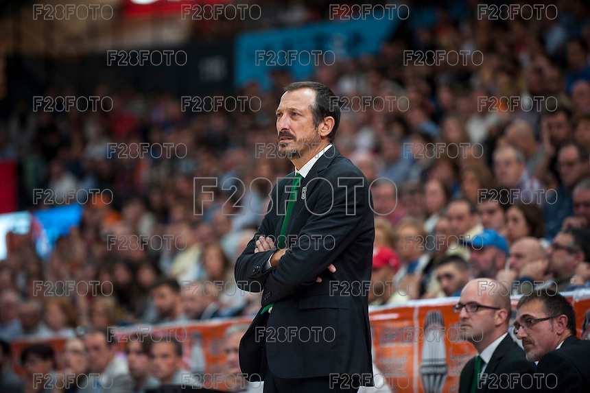 VALENCIA, SPAIN - OCTOBER 18: Salva Maldonado during ENDESA LEAGUE match between Valencia Basket Club and FIATC Joventut at Fonteta Stadium on October 18, 2015 in Valencia, Spain