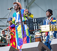 Cheikh Lo of Senegal performs at the 2012 Jazz and Heritage Festival in New Orleans, LA on April 29, 2012.  © HIGH ISO Music, LLC / Retna, Ltd.,
