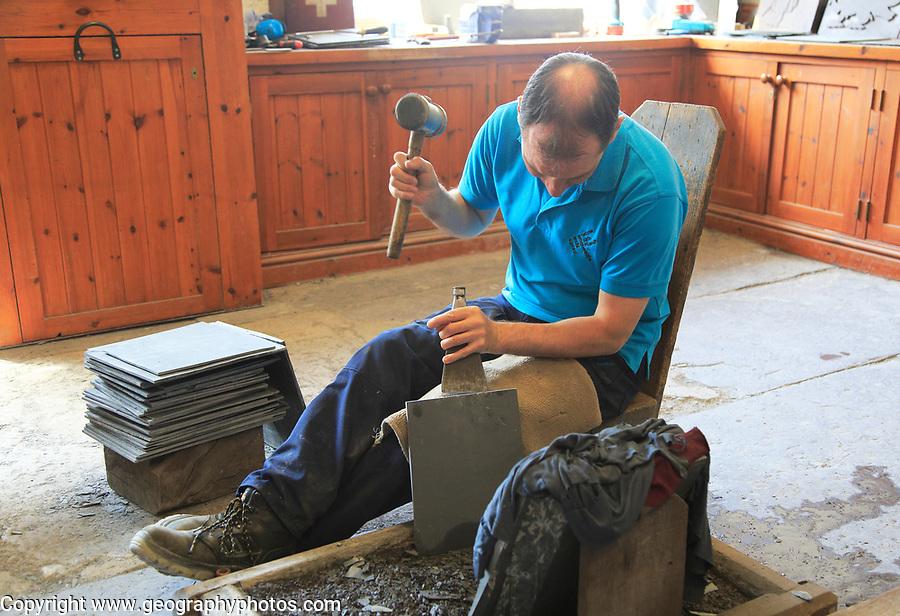 Demonstration of slate working, National slate museum, Llanberis, Gwynedd, Snowdonia, north Wales, UK