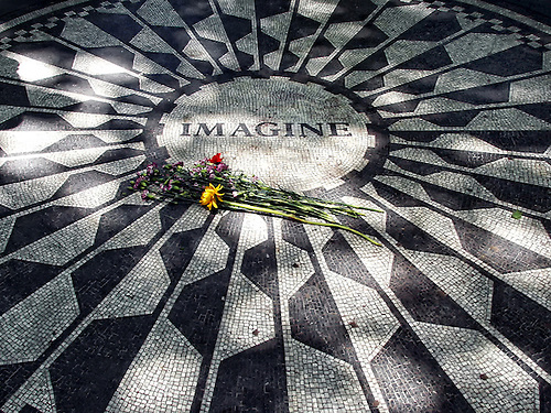 Strawberry Fields Lennon memorial in Central Park, New York City, NY.