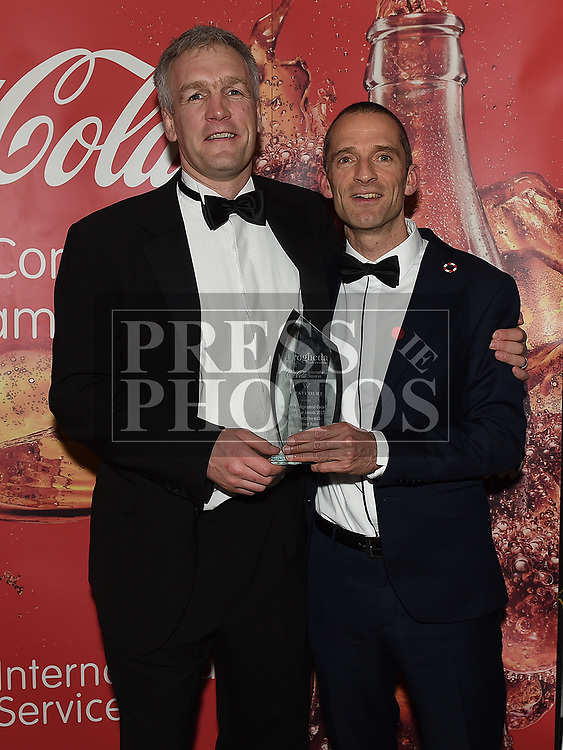 Sports Star of the Year award winner Mark O'Shea with his coach Ian O'Reilly at the Drogheda Independent Sports Star Awards in the Westcourt Hotel.  Photo:Colin Bell/pressphotos.ie