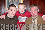 Kevin Tangney, Castlemaine (left) celebrates his 21st birthday with his father Denis and brother Shane in The Manor Inn, Killorglin, last Friday night..