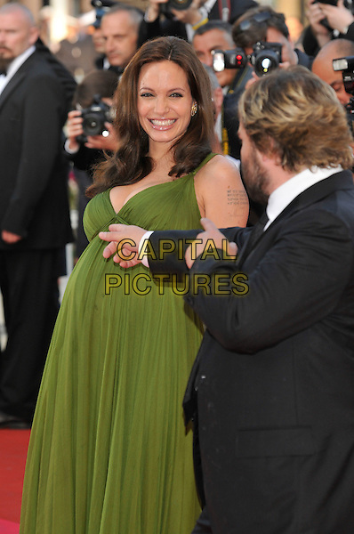 "ANGELINA JOLIE, JACK BLACK.""Kung Fu Panda"" Gala Premiere at the 61st Annual International Cannes Film Festival, Cannes, France, 15 May 2008..half length green dress pregnant  red carpet .CAP/PL.© Phil Loftus/Capital Pictures"
