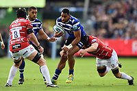 Joe Cokanasiga of Bath Rugby takes on the Gloucester Rugby defence. Gallagher Premiership match, between Bath Rugby and Gloucester Rugby on September 8, 2018 at the Recreation Ground in Bath, England. Photo by: Patrick Khachfe / Onside Images