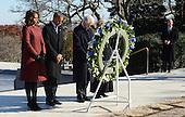 United States President Barack Obama (2nd-L), First Lady Michelle Obama (L), Former U.S. President Bill Clinton (2nd-R) and Former Secretary of State Hillary Rodham Clinton lay a wreath at the gravesite for President John F. Kennedy at Arlington National Cemetery in Arlington, Virginia, November 20, 2013. This Friday will mark the 50th anniversary of the assassination of President Kennedy on November 22, 1963. <br /> Credit: Pat Benic / Pool via CNP