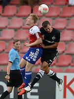 3. Fussball Bundesliga:  2. Spieltag    Saison   2012/2013   SpVgg Unterhaching  - FC Hansa Rostock   28.07.2012 Andreas Voglsammer (li, Unterhaching) gegen Patrick Wolf (FC Hansa Rostock)