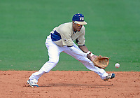 Florida International University infielder Julius Gaines (2) plays against Florida Atlantic University. FAU won the game 9-3 on March 18, 2012 at Miami, Florida.