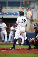 Charlotte Stone Crabs third baseman Jim Haley (38) at bat during the first game of a doubleheader against the Tampa Yankees on July 18, 2017 at Charlotte Sports Park in Port Charlotte, Florida.  Charlotte defeated Tampa 7-0 in a game that was originally started on June 29th but called to inclement weather.  (Mike Janes/Four Seam Images)
