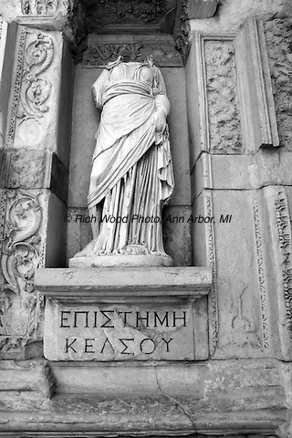 Epistimi, headless statue of knowledge at the Celsus Library, Ephesus, Turkey