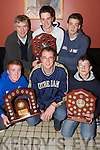 Sport: Winners of the South West Schools Basketball.Competition in Ulicks Bar, Farranfore, on Thursday.evening. Front l-r: Stephen McGaley, Maurice Casey.(Coach) and Padraig OShea. Back l-r: Jack Nolan, Jamie.ONeill and Sean McCarthy (all from Castleisland Community.College).