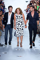 Designer, Diane von Furstenberg, Google Founder, Sergey Brin, and creative director of Diane von Furstenberg, Yvan Mispelaere, walk the runway at Diane Von Furstenberg Show wearing Google Goggles during Mercedes Benz IMG New York Fashion Week Spring/Summer 2013 at Lincoln Center, New York, NY on September 9, 2012