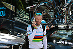 World Champion Alejandro Valverde (ESP) Movistar Team outside the team hotel before the 2019 Tour de France starting in Brussels, Belgium. 4th July 2019<br /> Picture: Colin Flockton | Cyclefile<br /> All photos usage must carry mandatory copyright credit (© Cyclefile | Colin Flockton)