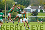 Billy McGuire Legion in action against Nathan Breen and Donncadh Walsh Mid Kerry in Killorglin on Saturday.